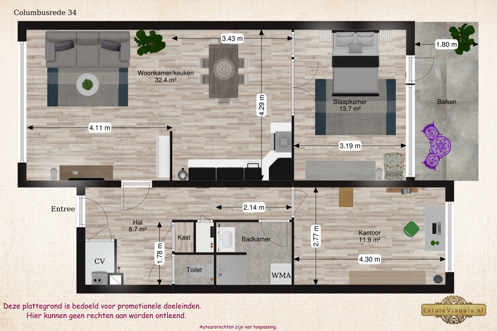 Floorplan 2D Columbusrede 34, Zoetermeer