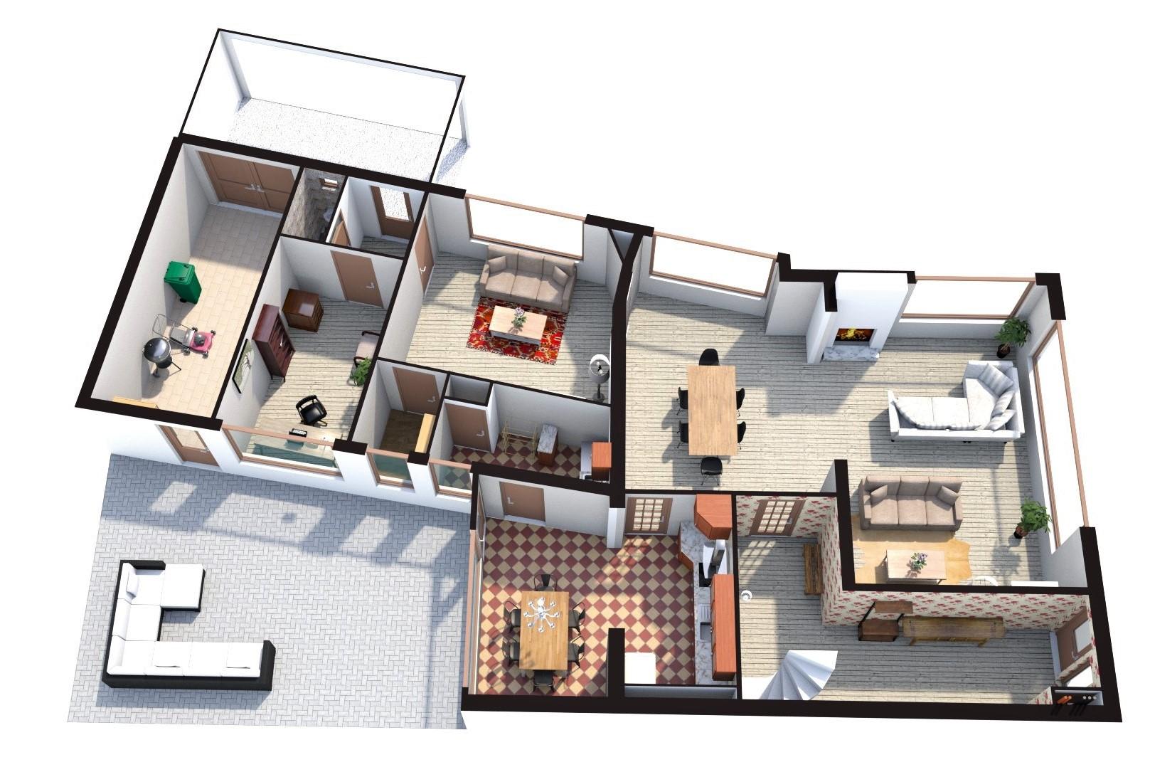 Floorplan 3D Mauritssingel 166, Leiderdorp