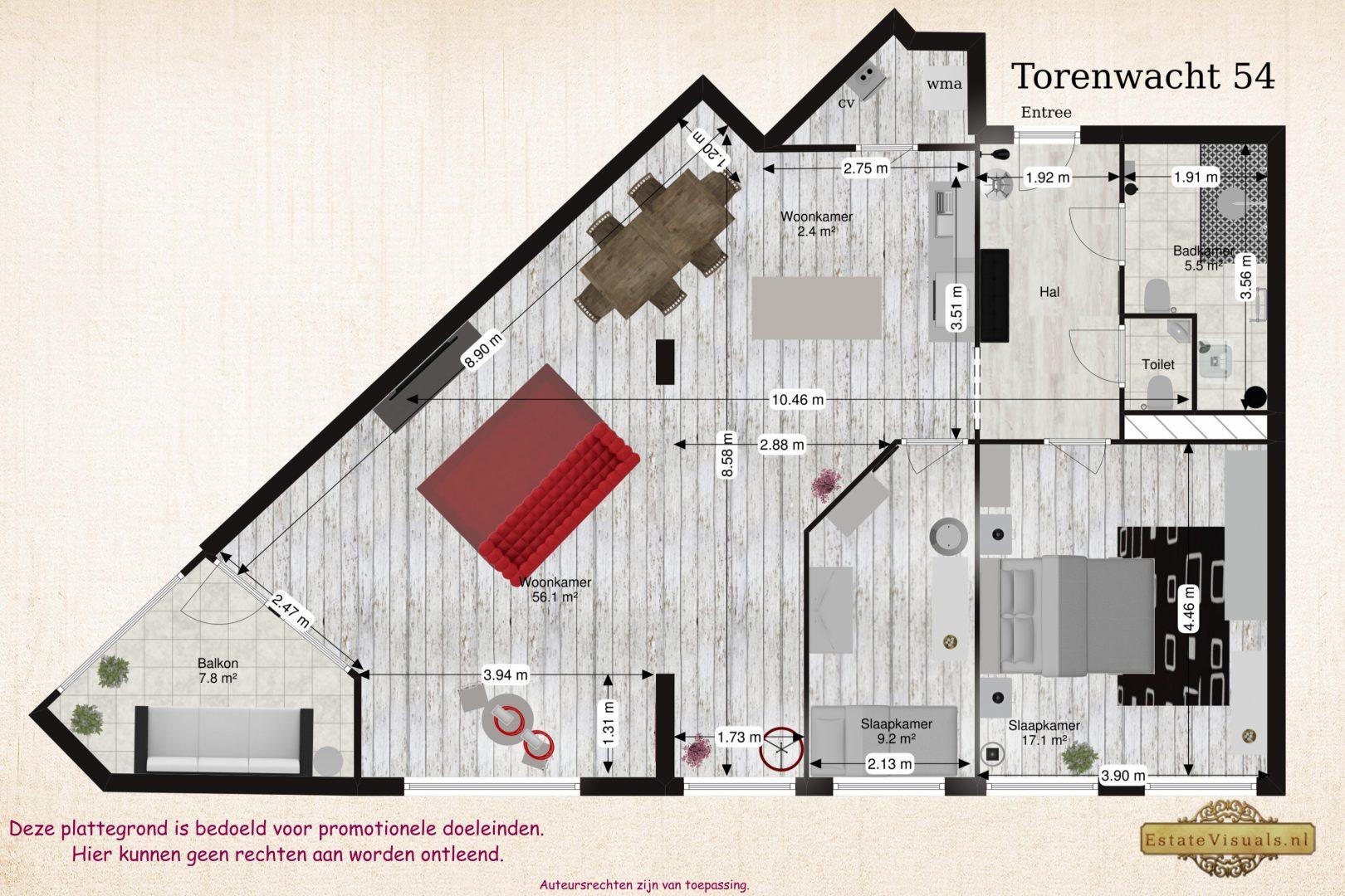 Floorplan 2D Torenwacht 54, Leiderdorp