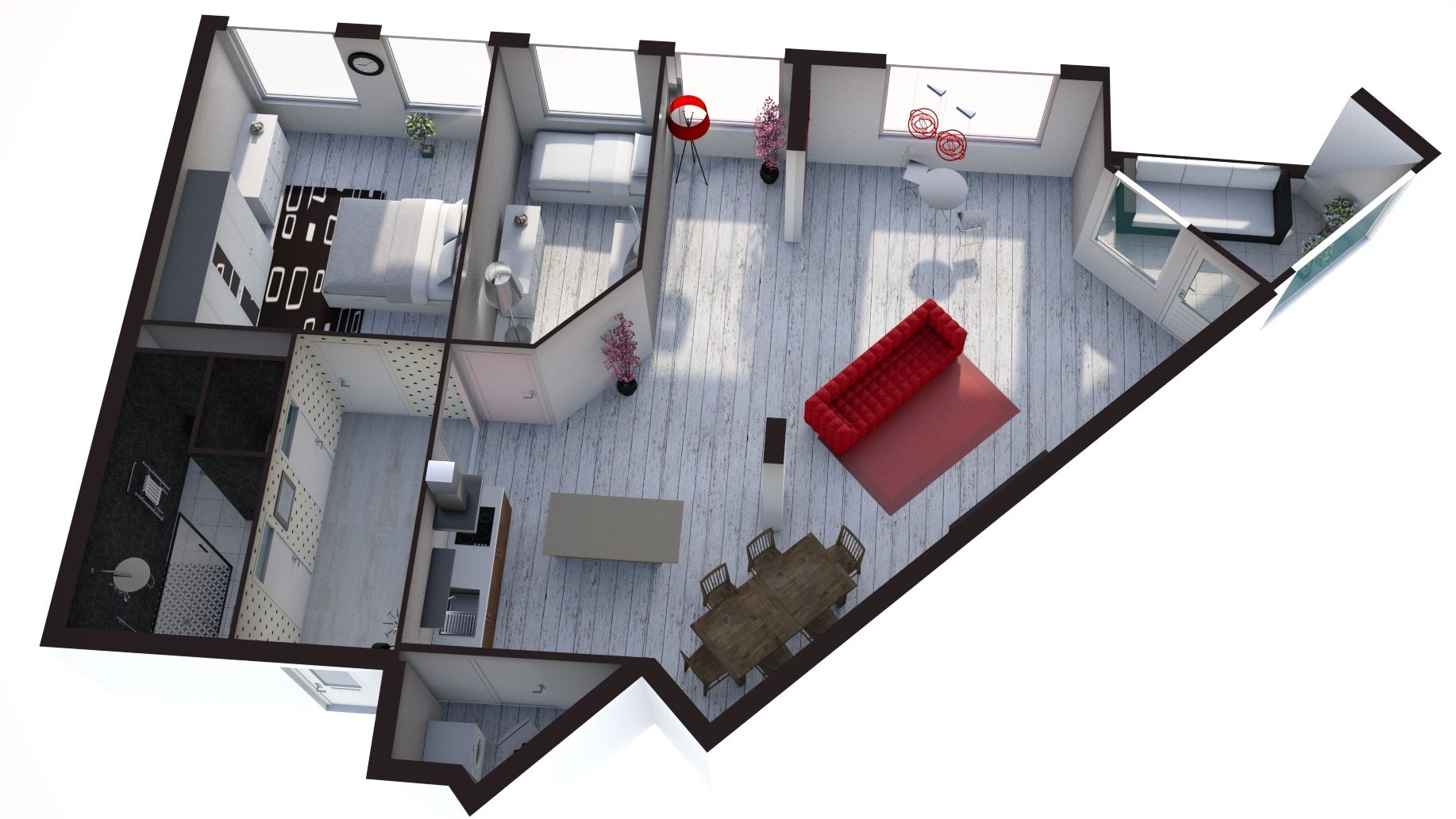 Floorplan 3D Torenwacht 54, Leiderdorp