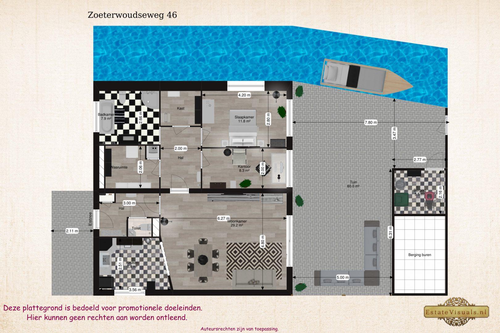 Floorplan 2D Zoeterwoudseweg 46, Leiden.